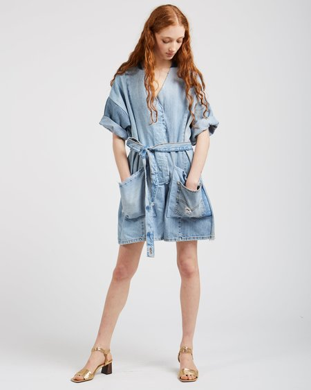SilkDenim Denim Patchwork Jumpsuit