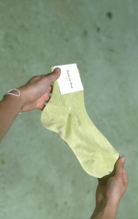 Maria La Rosa Ribbed Silk Sock - Lime