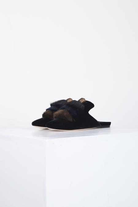 SANAYI 313 MONAROLA VELVET SLIPPERS - BLACK