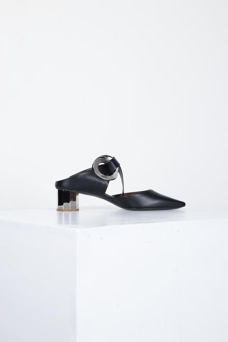 PROENZA SCHOULER Front-tie Block-heel Leather Mules - Black