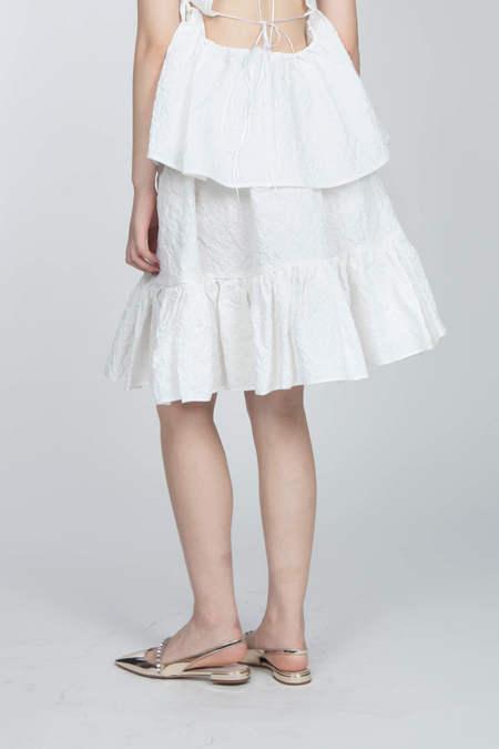 CECILIE BAHNSEN Skirt With Ruffle Hem - WHITE