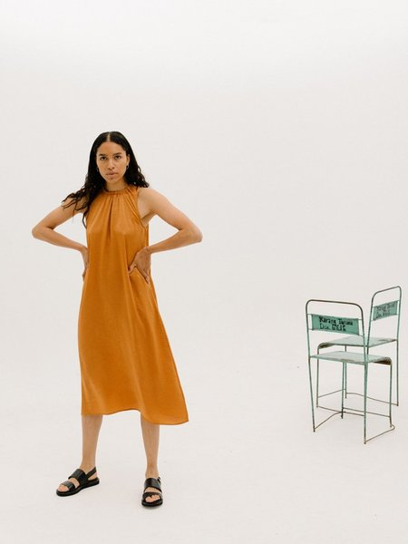 Priory Gather Dress - Slinky Burnt Orange