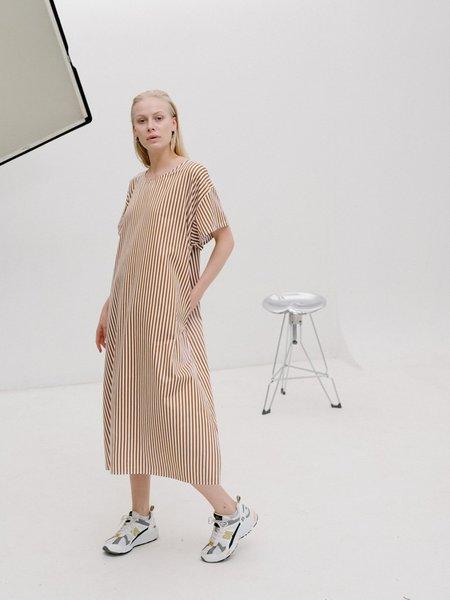 Priory Poplin T Shirt Dress - Orange/White