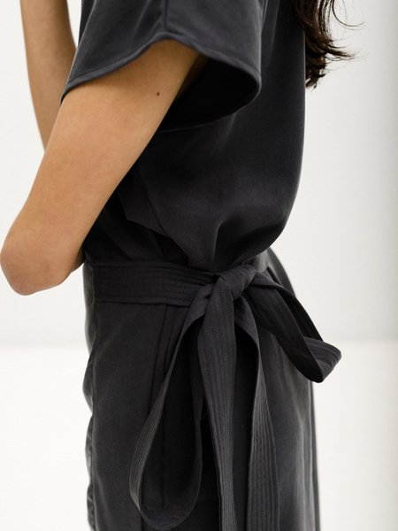 Priory Tencel Wrap Dress - Charcoal