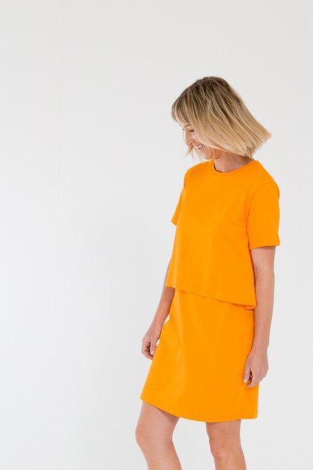 Bare Bones Short Sleeve Layers Dress - Citrus