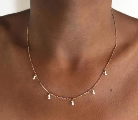 Plume Pearl Drops Necklace - rose gold