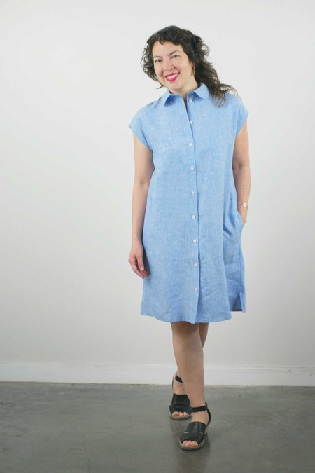 Jennifer Glasgow Arroyo Linen Dress - Sky