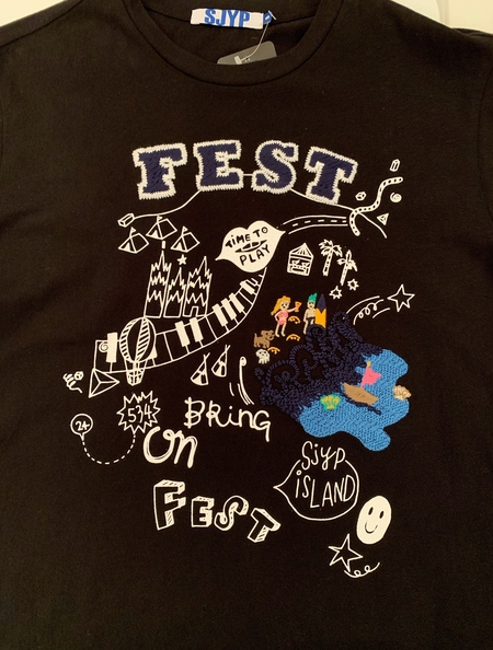 SJYP Cotton T shirt with Embroidery - Black