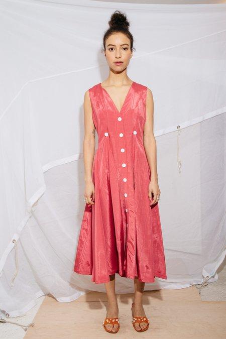 Nikki Chasin SLEEVELESS BARONESS DRESS - RED MOIRE