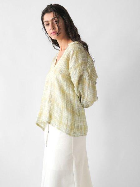 Erica Tanov patricia blouse - citron plaid
