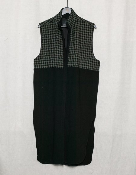 Berenik Wool Tweed Winter Dress/Vest - Black/Olive