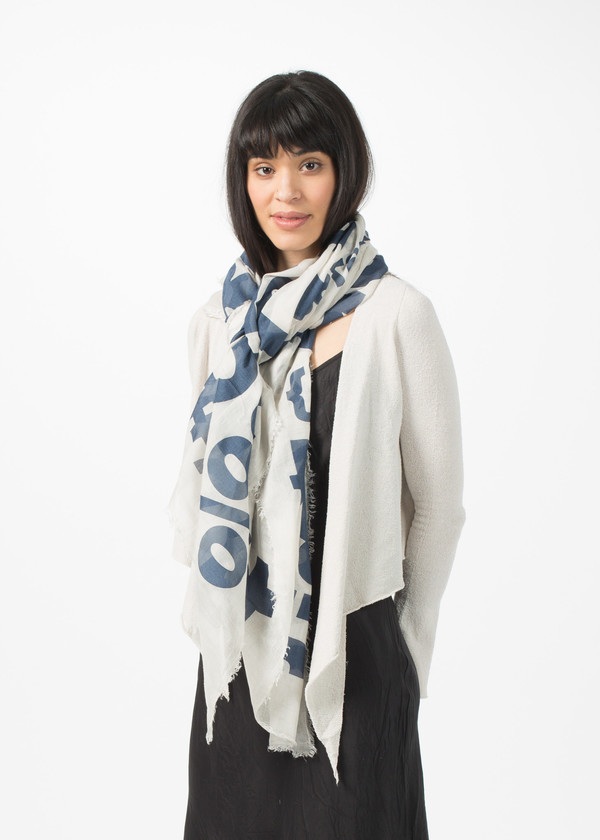 Rundholz BL Large Print Text Scarf - Coconut