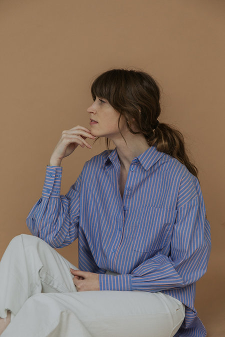Just Female Mijeong Park Oversized Shirt - Blue Stripe