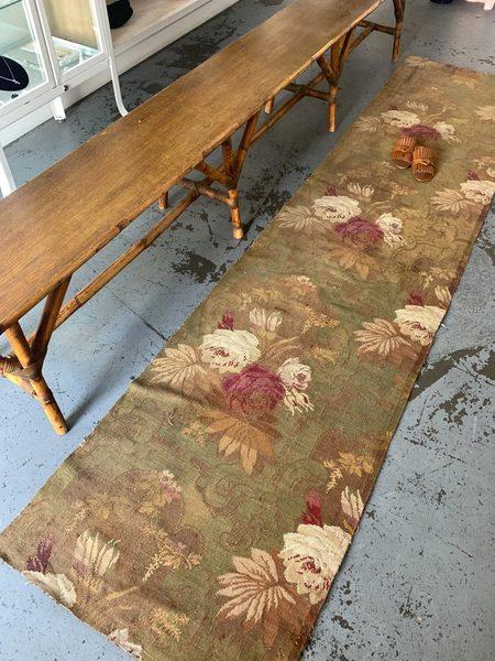 The Rug Affair vintage European Loom Woven Runner Rug - Floral Jacquard