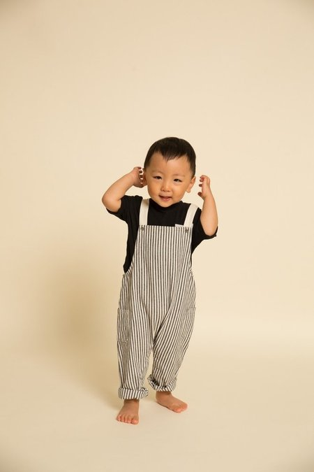 Kids Greige Mini Overalls - Black/Natural Stripe