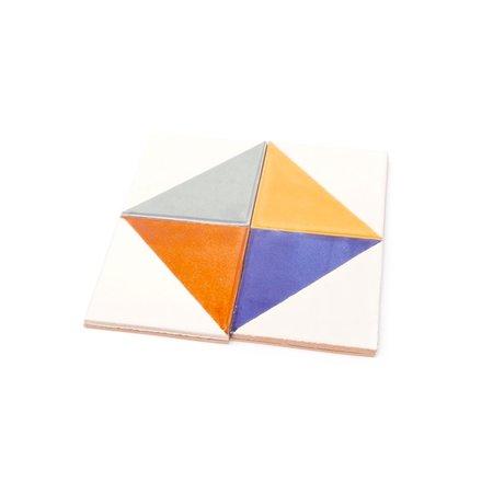 Made Solid Talavera Tile Coaster Set - 4 Color Triangles