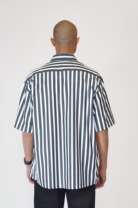 The Celect Huge Short Sleeve Woven - Black/White Stripes