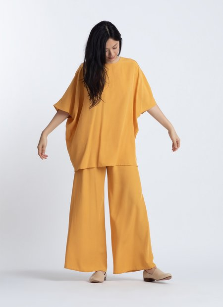 KAAREM Kite Round Neck Silk Tunic Top - Persimmon