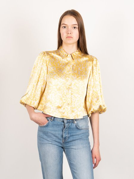 Ganni Cropped Heavy Satin Shirt - Tapioca