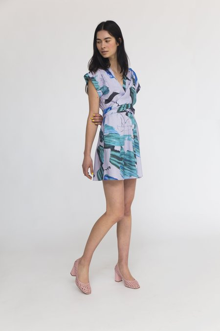 Heinui Amos Dress - Lilac/Green Stoke Print