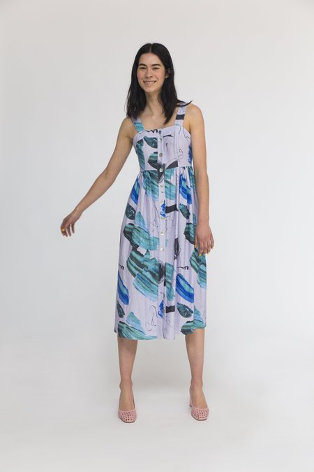 Heinui Sol Dress - Lilac/Green Stoke Print