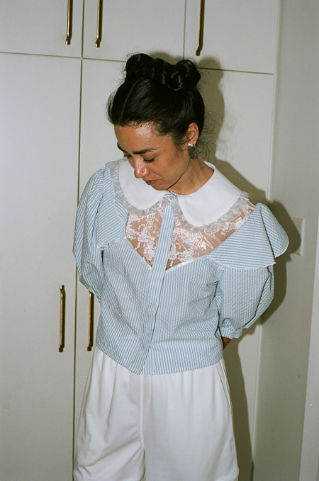 Suzanne Rae Raw Puff Sleeve Top with Embroidery - White/Blue