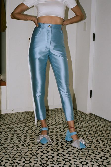 Suzanne Rae Shantung Side Fringe Pant - Paris Blue