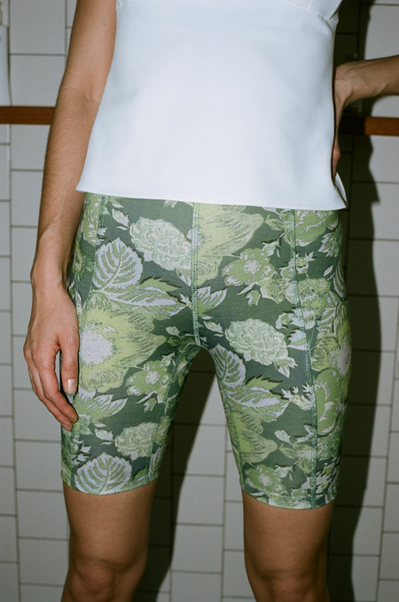 Suzanne Rae Biker Shorts - Green Floral