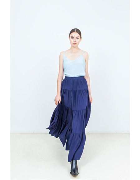 An An Londree Wide Pleats Skirt - pool
