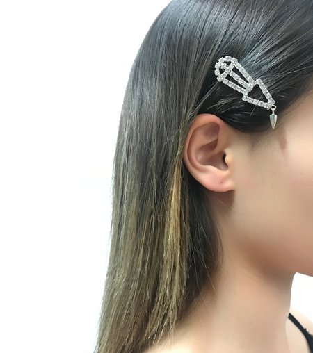 Joomi Lim Crystal & Spike Hair Clip - Rhodium/Crystal