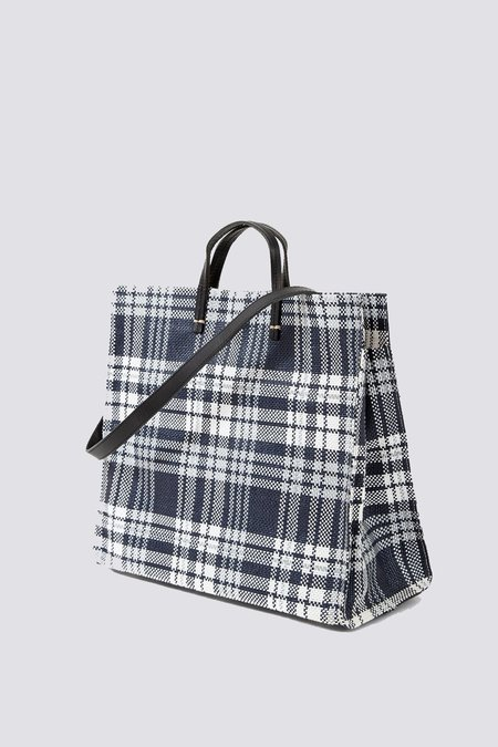 Clare V. Simple Tote - navy plaid