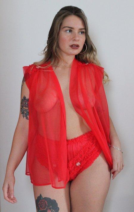 Vintage Sheer Ruffled Lingerie Panty Set - RED