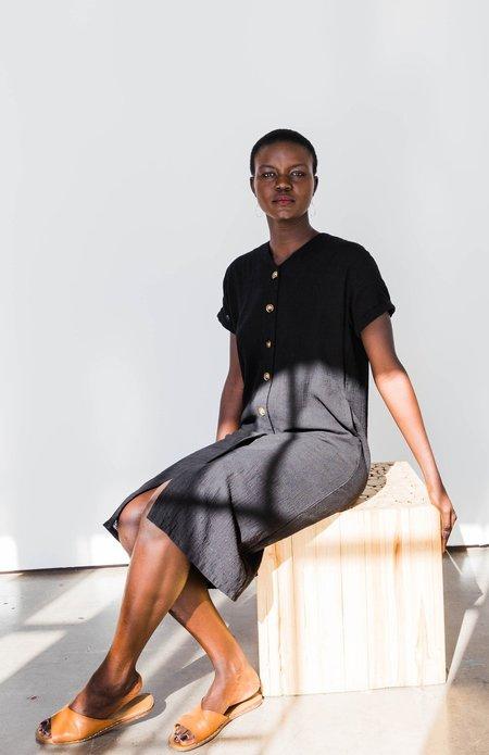 GALERIE.LA Joy Button Front Dress - black