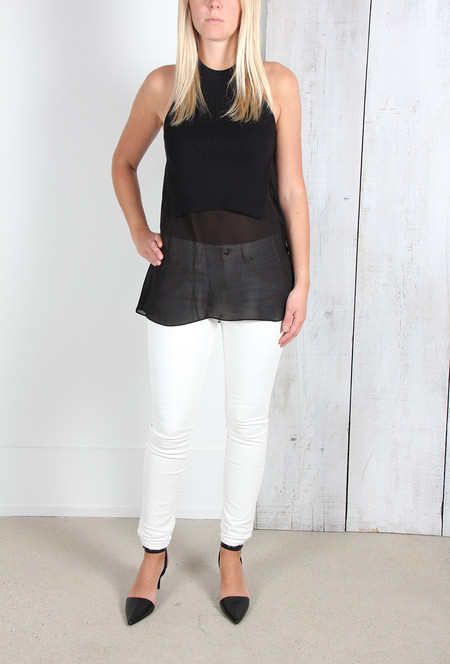 ALEXANDER WANG RIB KNIT TANK WITH SILK SHIRTTAIL