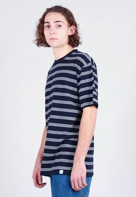 Norse Projects Johannes Cotton Linen Stripe T-Shirt - dark navy