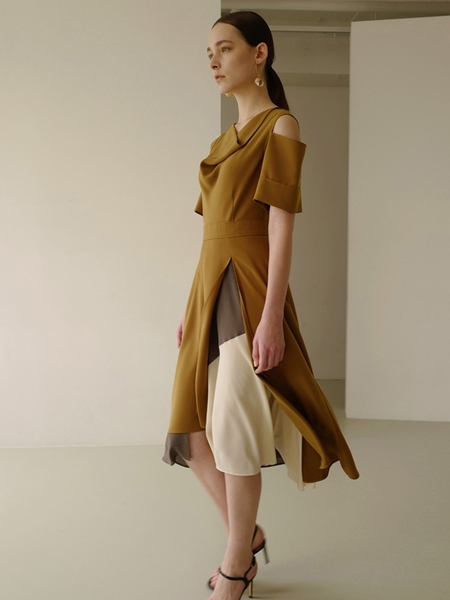Andersson Bell Florence Double Layered Dress - Mustard Olive