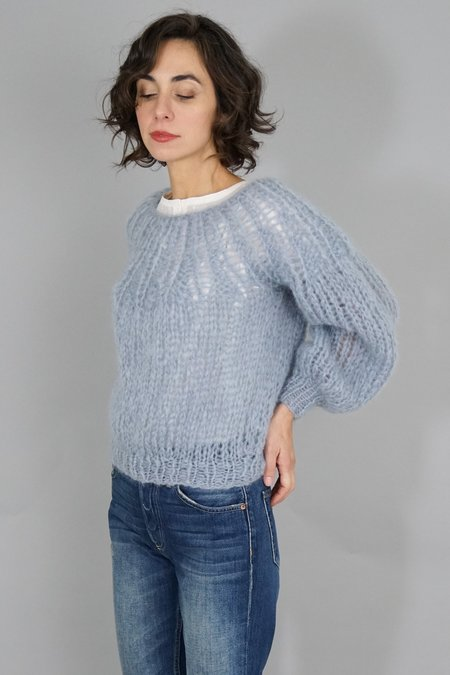 Maiami Mohair Pleated Sweater - Grey blue