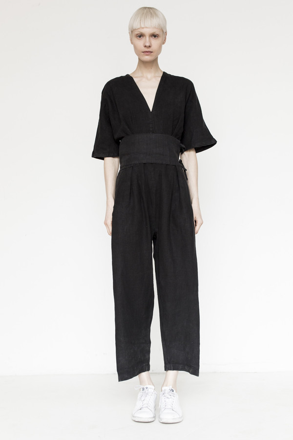 Black Crane Linen V-Neck Jumpsuit