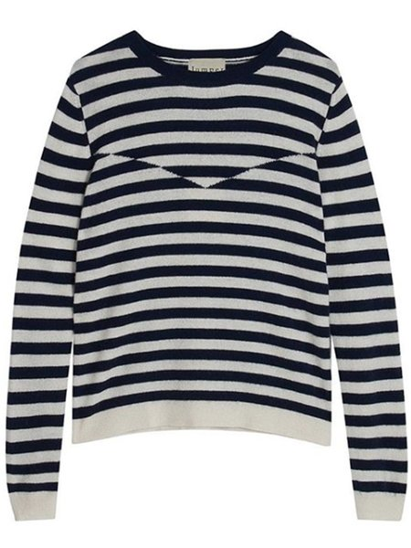 Jumper 1234 Optical Stripe Sweater - Navy/Cream