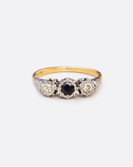 Love Adorned Vintage Platinum, Sapphire and Diamond Ring