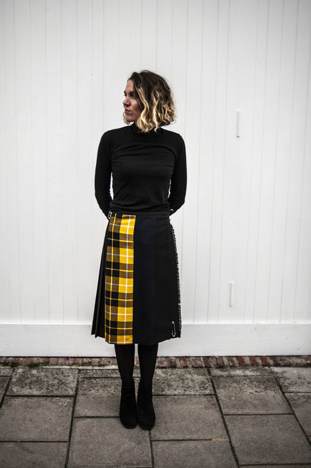 Le Kilt Mixed Tartan Kilt - Yellow/Navy/Black
