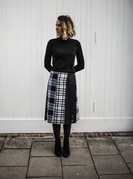 Le Kilt Mixed Tartan Kilt - Black/White/Navy