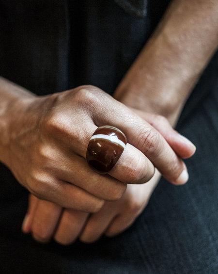 F O L D swirl Agate Ring - Brown