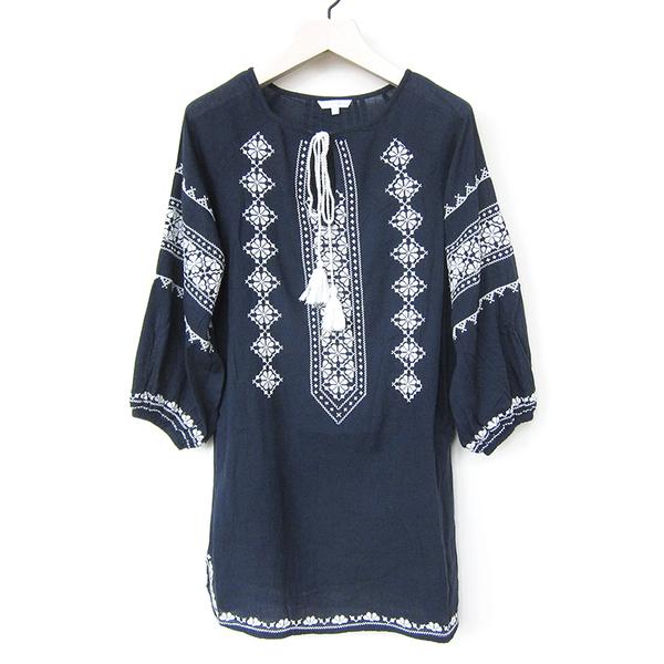 Star Mela Mayra embroidered tunic - navy/ecru