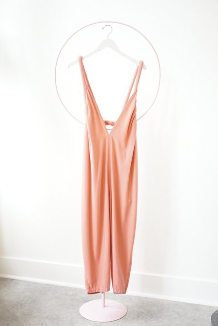 Backtalk PDX Vintage Raw Silk Jumpsuit - Peach