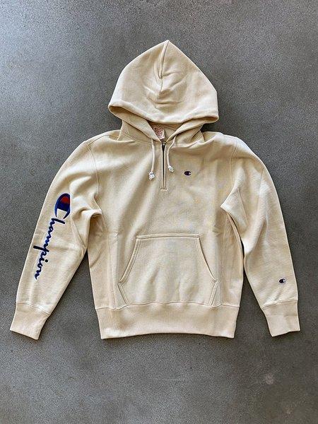 Champion Half Zip Reverse Weave Logo Hoodie - Wheat