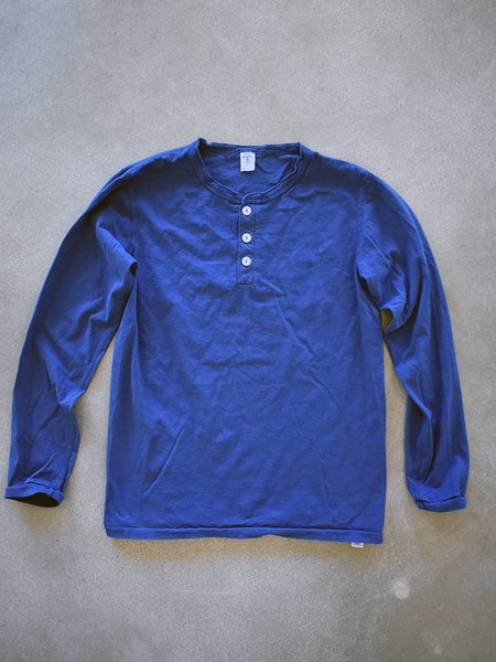 Velva Sheen Tubular Long Sleeve Henley - Navy
