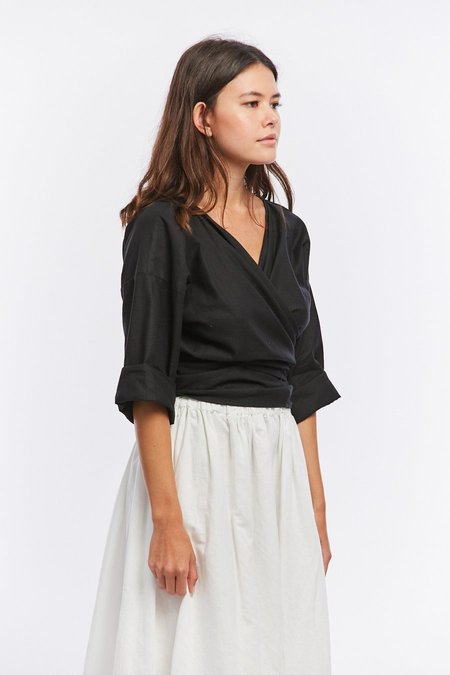 Miranda Bennett Linen Wrap Top - Black
