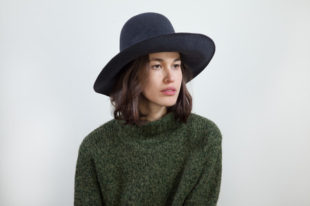 Wide Brim Dome Hat in Charcoal Wool