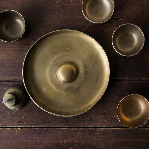 brass sake set